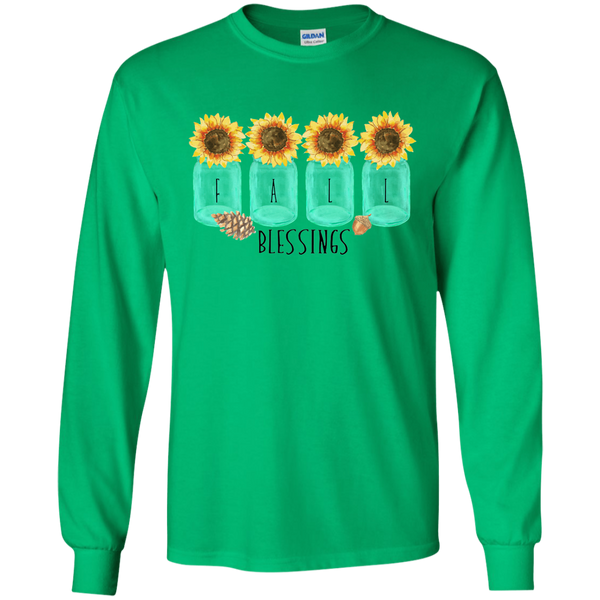 Mason Jar Sunflowers Fall Blessings Long Sleeve Tee Shirt Green
