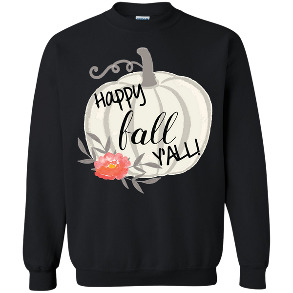 Happy Fall Y'all Watercolor Pumpkin Crewneck Sweatshirt Black