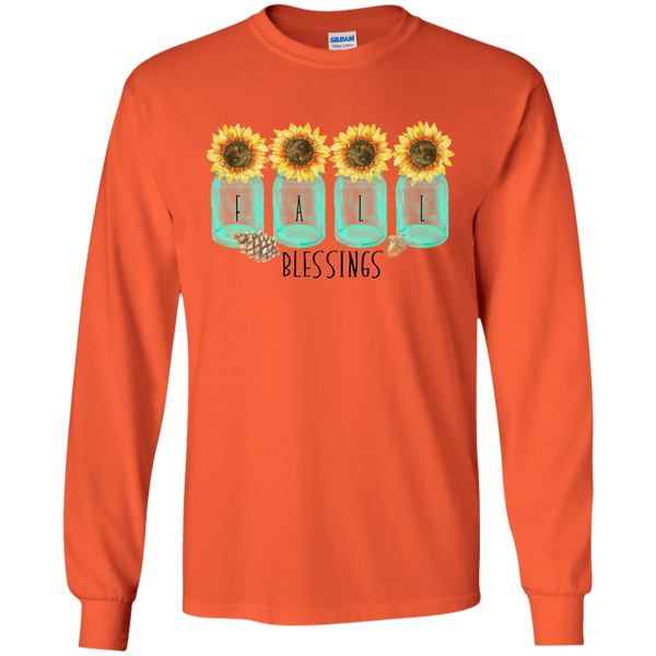 Mason Jar Sunflowers Fall Blessings Long Sleeve Tee Shirt Orange