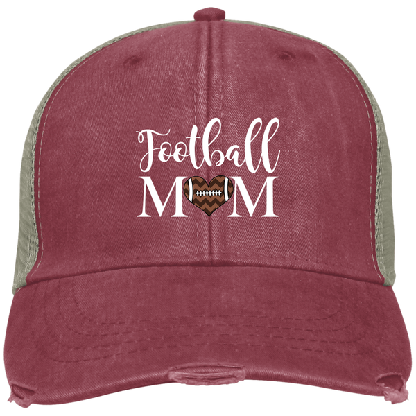 Football Mom Distressed Trucker Hat Cap Heart Red