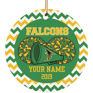 Lake County Falcons Cheerleading Personalized Ornament