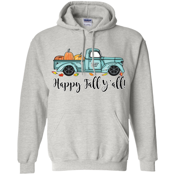 Happy Fall Y'all Pumpkin Farm Truck Hoodie Sweatshirt Ash Grey