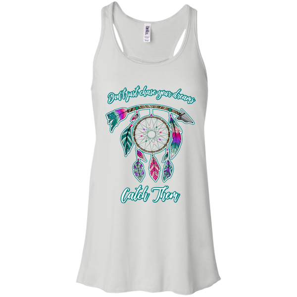 Chase catch your dreams inspirational dreamcatcher flowy tank top white