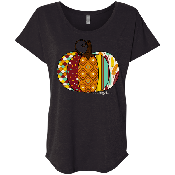 Blessed Fall Women's Distressed Pumpkin Flowy Tee  Black
