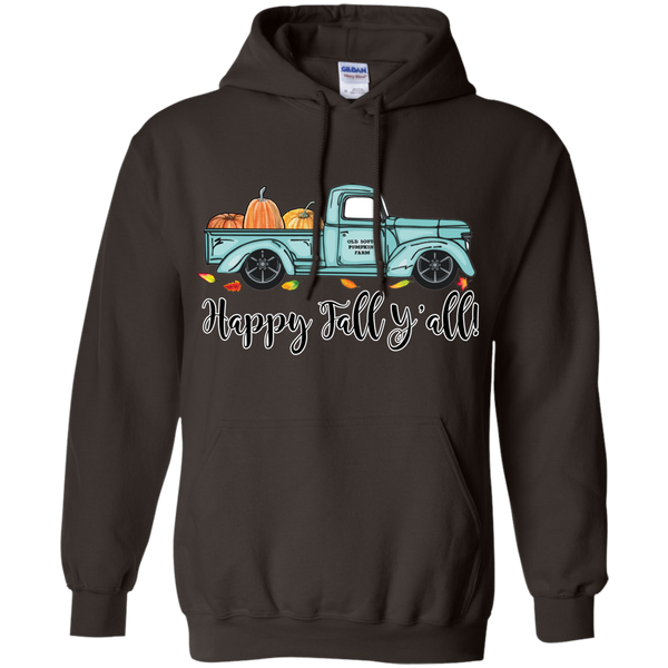 Happy Fall Y'all Pumpkin Farm Truck Hoodie Sweatshirt Brown