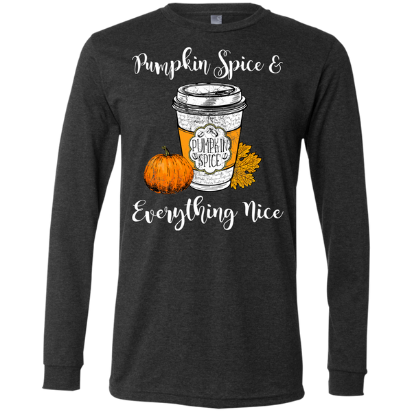 Pumpkin Spice and Everything Nice Soft Long Sleeve Tee Dark Grey Heather