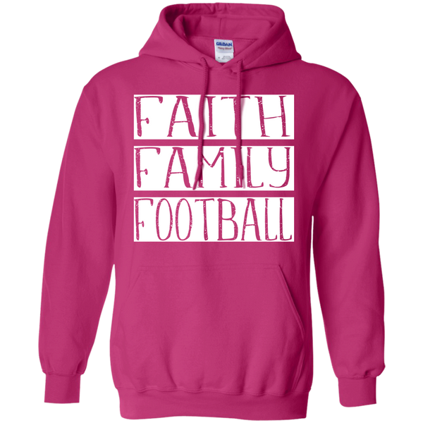 Faith Family Football Hoodie Sweatshirt Hot Pink