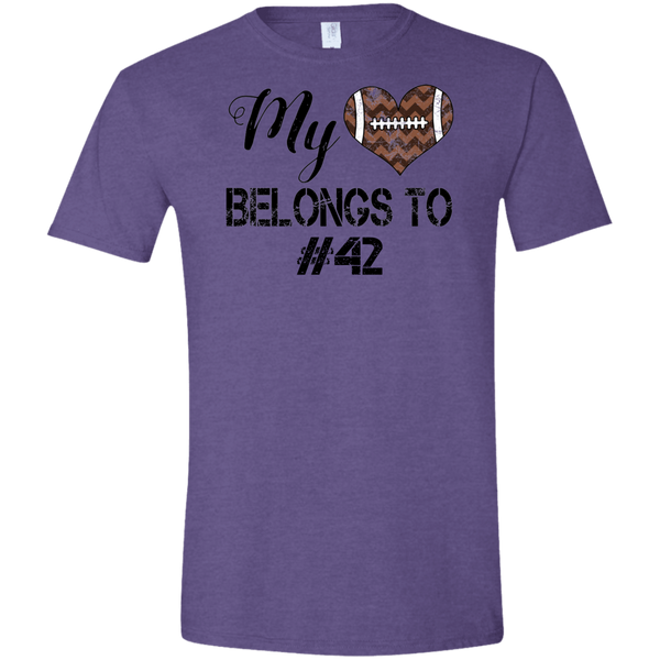 My Heart Belongs to Personalized Football Tee Shirt Heather Purple