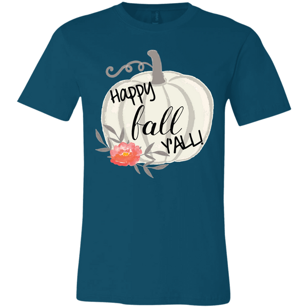 Happy Fall Y'all Watercolor Pumpkin Soft Tee Shirt Deep Teal