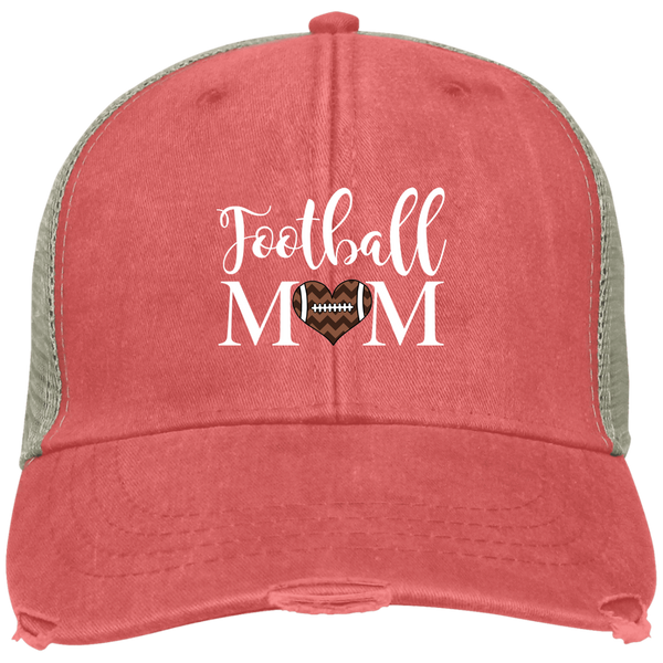 Football Mom Distressed Trucker Hat Cap Heart Coral