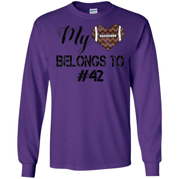 My Heart Belongs To Personalized Football Long Sleeve Tee Purple