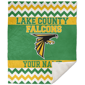 Lake County Falcons Chevron School Spirit Chevron 50x60 Sherpa Blanket
