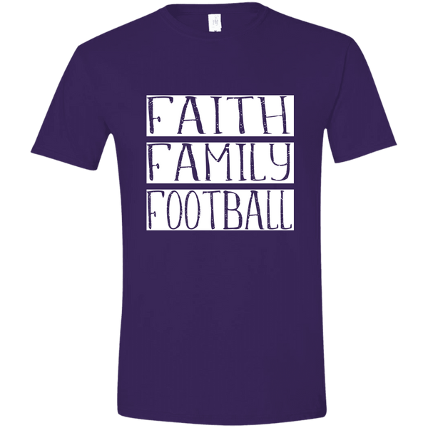 Faith Family Football Soft Tee Shirt Purple