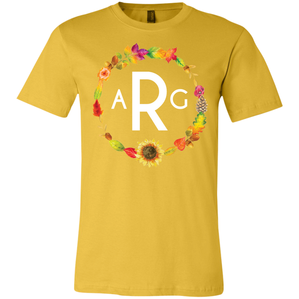 Personalized Fall Wreath Monogram Tee Shirt Yellow