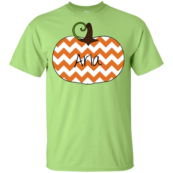Kids Personalized Chevron Pumpkin Tee Shirt Green