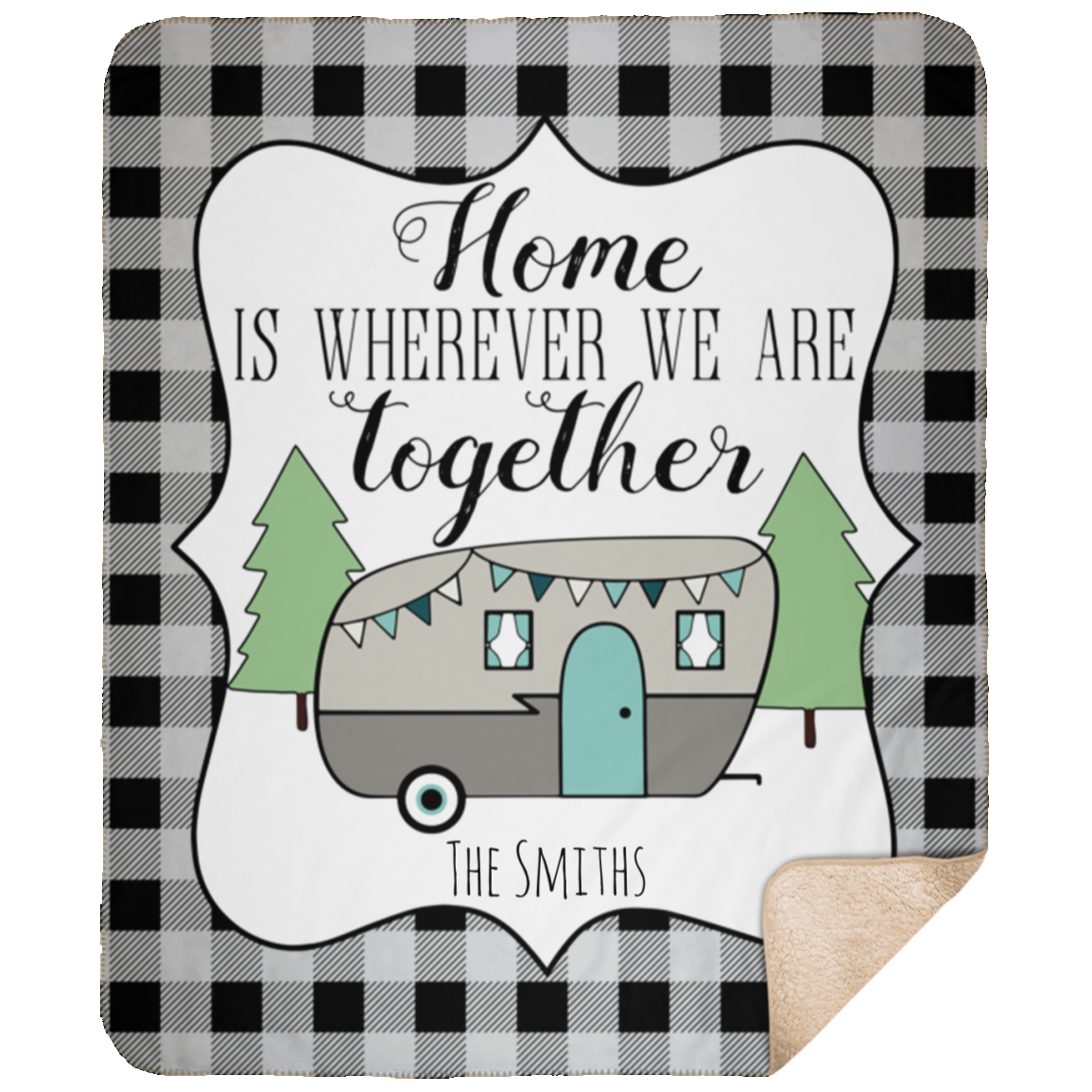 Personalized Home is Wherever We Are Together 50x60 Camper Blanket