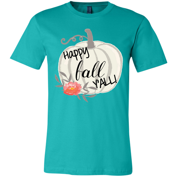 Happy Fall Y'all Watercolor Pumpkin Soft Tee Shirt Teal