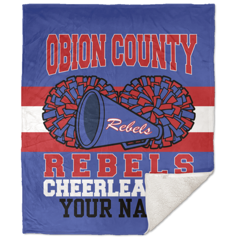 Obion County Rebels Cheerleading Personalized 50x60 Sherpa Blanket