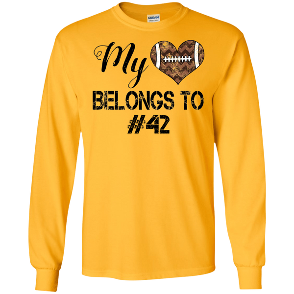 My Heart Belongs To Personalized Football Long Sleeve Tee Gold