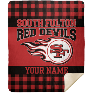 South Fulton Red Devils Plaid Premium Mink Sherpa 50x60 School Spirit Blanket