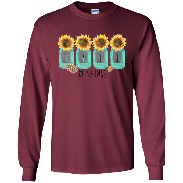 Mason Jar Sunflowers Fall Blessings Long Sleeve Tee Shirt Maroon