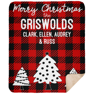 Personalized Christmas Buffalo Plaid 50x60 Sherpa Blanket