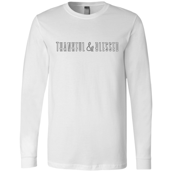 Thankful and Blessed Soft Long Sleeved Tee White