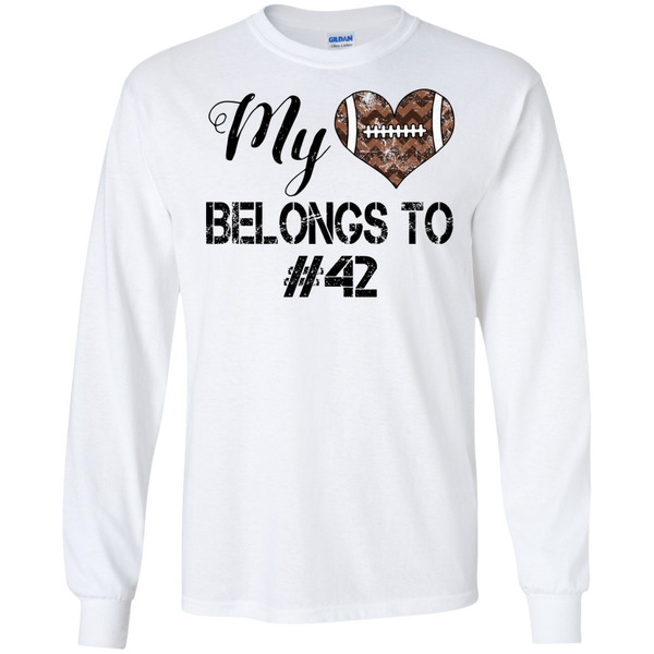 My Heart Belongs To Personalized Football Long Sleeve Tee White