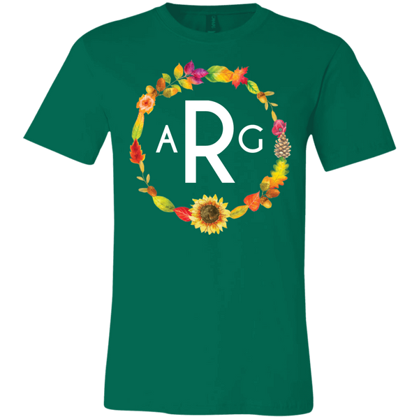 Personalized Fall Wreath Monogram Tee Shirt Green