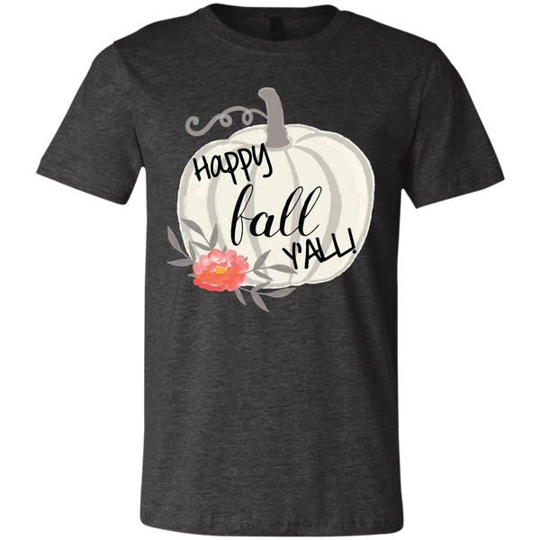 Happy Fall Y'all Watercolor Pumpkin Soft Tee Shirt Dark Grey