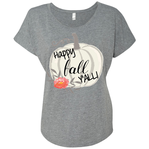 Happy Fall Y'all Watercolor Pumpkin Flowy Dolman Sleeve Tee Shirt Heather Grey