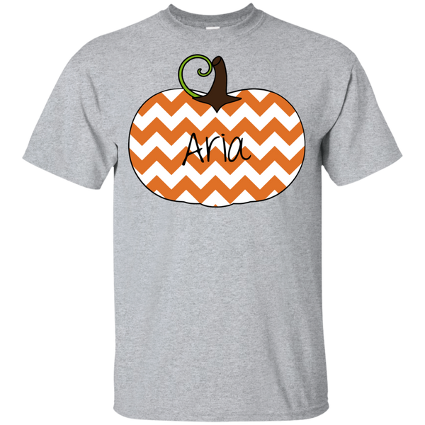 Kids Personalized Chevron Pumpkin Tee Shirt Sport Grey