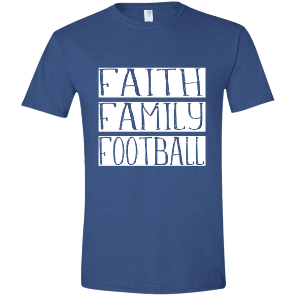 Faith Family Football Soft Tee Shirt Blue