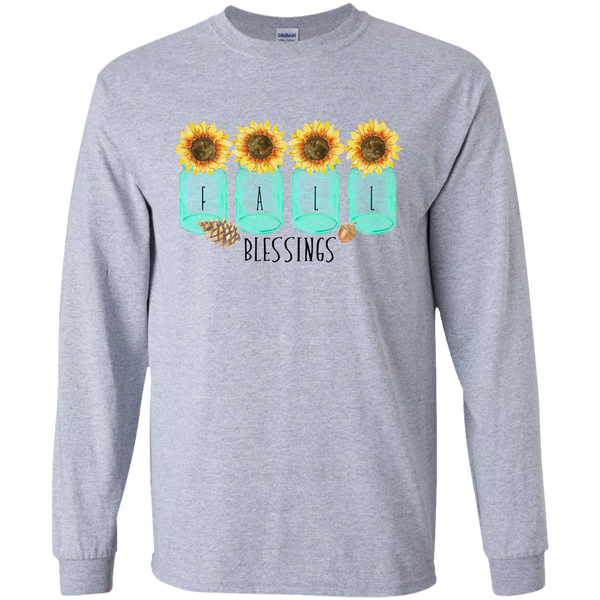 Mason Jar Sunflowers Fall Blessings Long Sleeve Tee Shirt Sports Grey