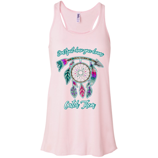 Chase catch your dreams inspirational dreamcatcher flowy tank top pink