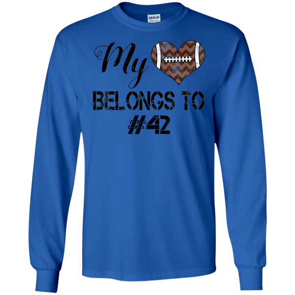 My Heart Belongs To Personalized Football Long Sleeve Tee Blue