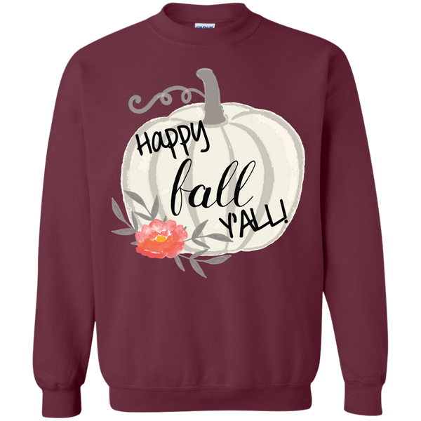 Happy Fall Y'all Watercolor Pumpkin Crewneck Sweatshirt Maroon