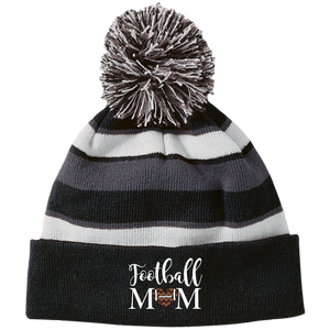 Football Mom Winter Striped Toboggan Pom Pom Hat Cap Heart Grey and black