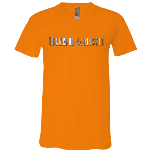 Thankful and Blessed Soft V-Neck Tee Shirt Orange
