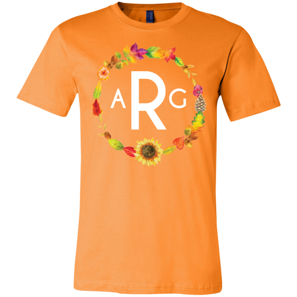 Personalized Fall Wreath Monogram Tee Shirt Orange