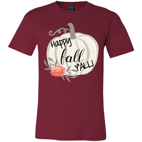 Happy Fall Y'all Watercolor Pumpkin Soft Tee Shirt Cardinal Red