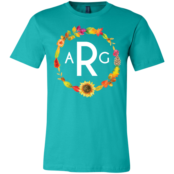 Personalized Fall Wreath Monogram Tee Shirt Teal
