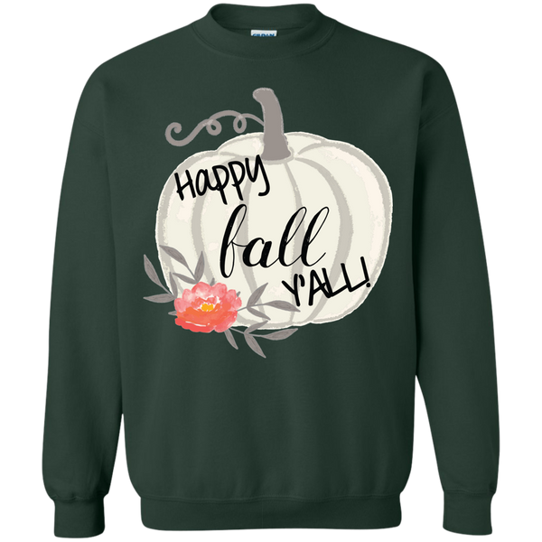 Happy Fall Y'all Watercolor Pumpkin Crewneck Sweatshirt Forest Green
