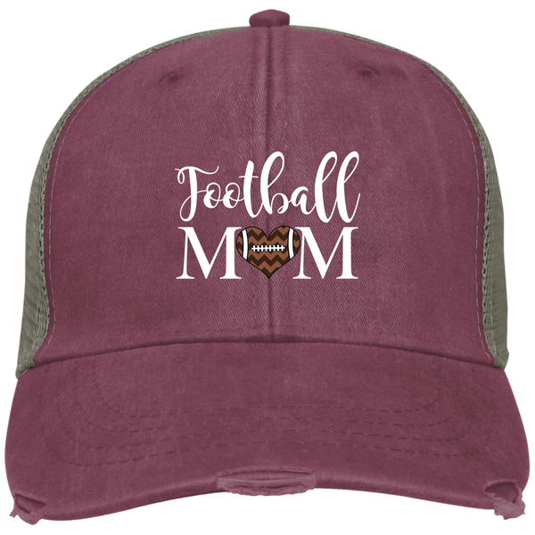 Football Mom Distressed Trucker Hat Cap Heart Brugundy