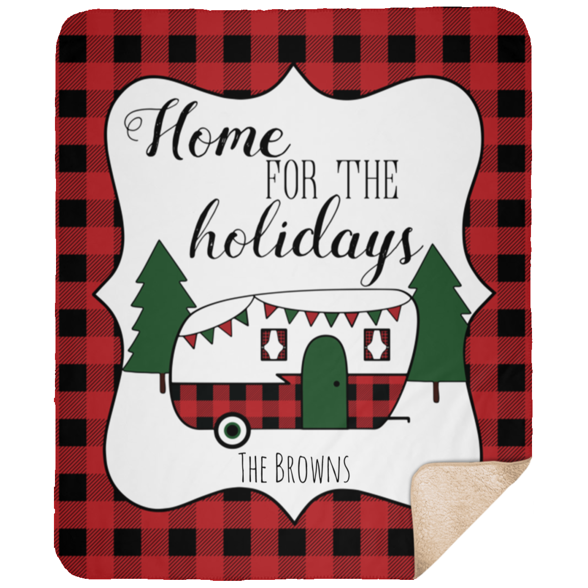 Personalized Home for the Holidays 50x60 Camper Blanket