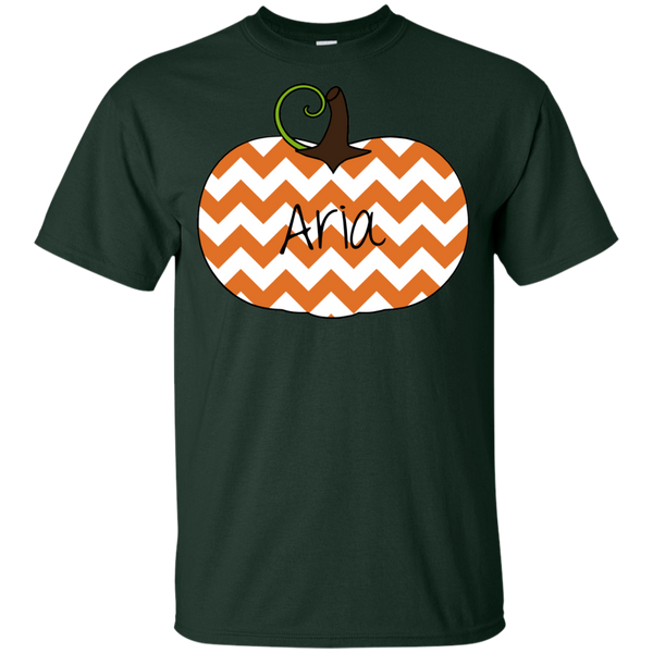 Kids Personalized Chevron Pumpkin Tee Shirt Forest Green