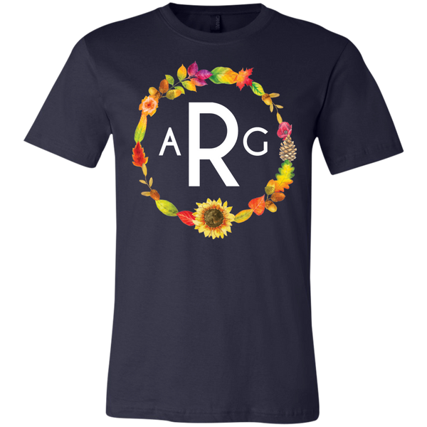 Personalized Fall Wreath Monogram Tee Shirt Navy