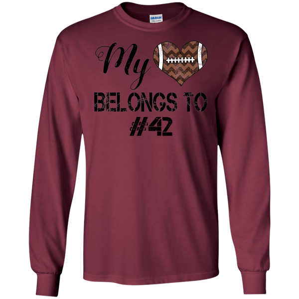 My Heart Belongs To Personalized Football Long Sleeve Tee Maroon