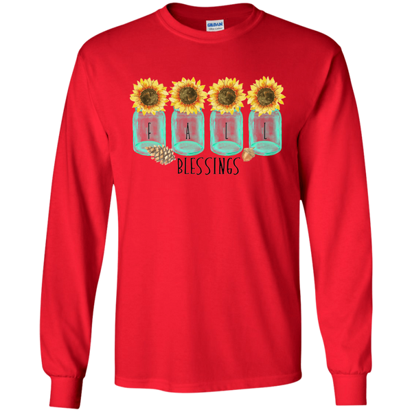 Mason Jar Sunflowers Fall Blessings Long Sleeve Tee Shirt Red