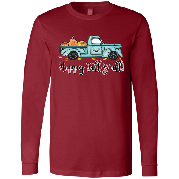 Happy Fall Y'all Pumpkin Farm Truck Long Sleeve Tee Shirt Red